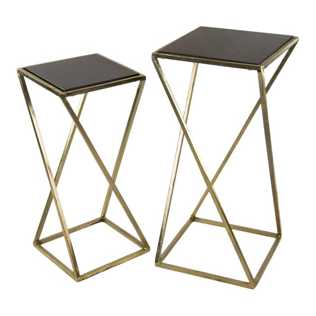 Modern Gold Steel & Black Granite Accent X Frame Tables - A Pair - Image 1 of 11