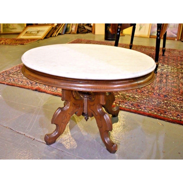 Brown Oval Marble Top Eastlake Style Coffee Table For Sale - Image 8 of 8