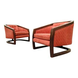 1970's Danish Modern Barrel Back Orange Lounge Chairs For Sale