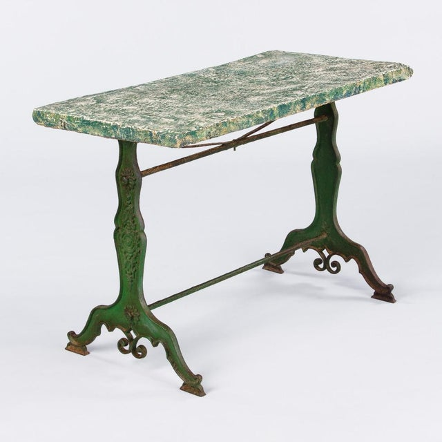 Late 1800s French Concrete Top Garden Table with Cast Iron Base - Image 11 of 11