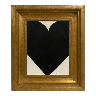 Ron Giusti Mini Heart Cream Black Painting, Framed For Sale