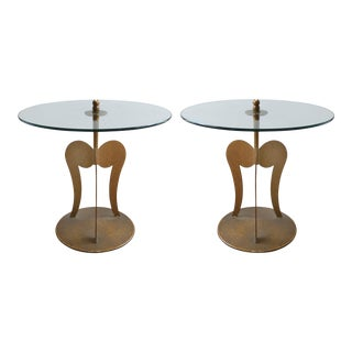 1960s Italian Parcel-Gilt Sculptural Steel Side Tables - a Pair For Sale