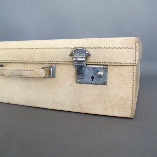 Antique 1920 Cream Vellum Suitcase For Sale - Image 5 of 11
