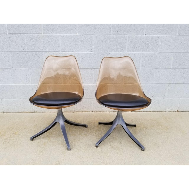 Mid Century Chromcraft Brown Lucite Side Chairs- a Pair For Sale In Los Angeles - Image 6 of 8