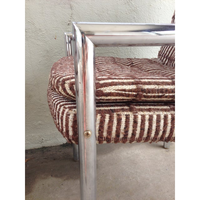 Brown Chrome Upholstered Armchairs - a Pair For Sale - Image 8 of 10