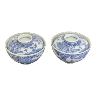 Antique Japanese Blue and White Bowls - a Pair For Sale