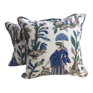 "Cowtan & Tout ""Voyagers"" Asian Inspired Cotton Print Blue & Green Pillow Covers - a Pair For Sale"