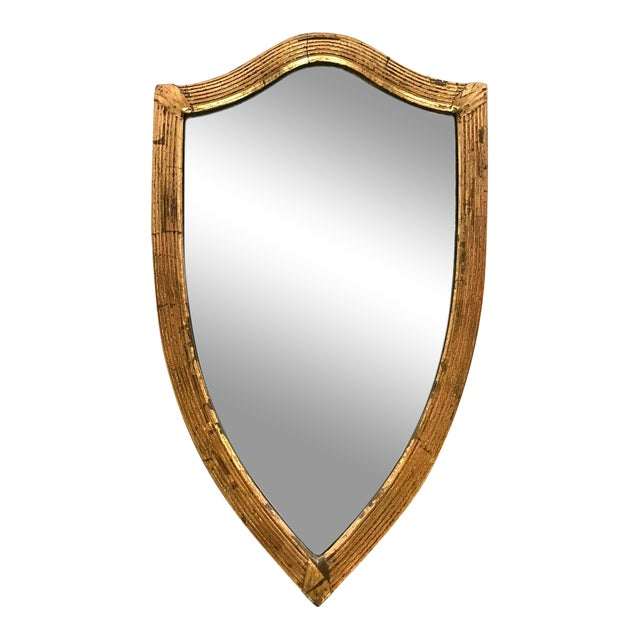 Antique English Gilded Shield-Shaped Mirror For Sale