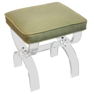 Midcentury Lucite Curule Bench For Sale