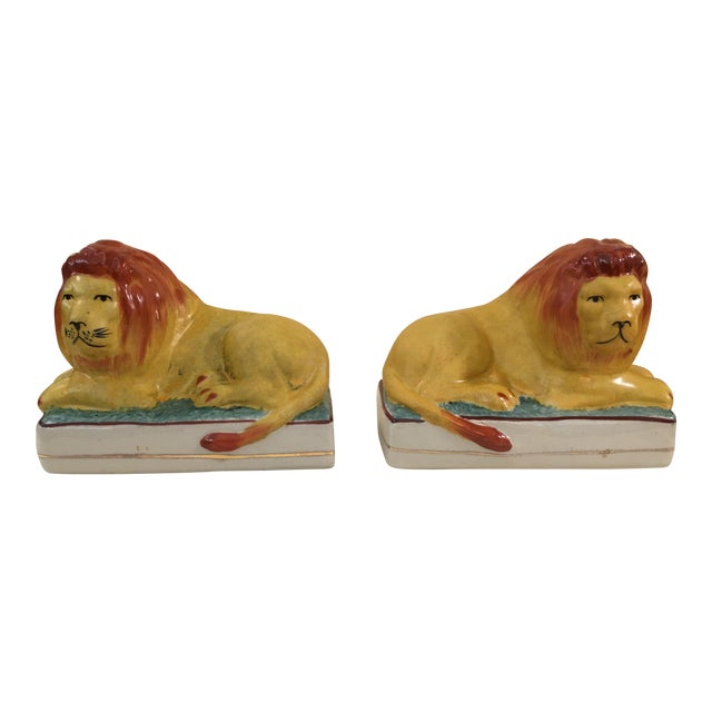 Ceramic Lion Bookends - A Pair For Sale
