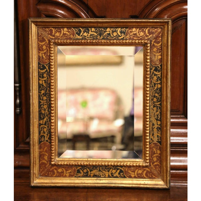 e253c477f87 Early 20th Century Italian Gilt Wood Wall Mirror With Hand Painted Motifs  For Sale - Image