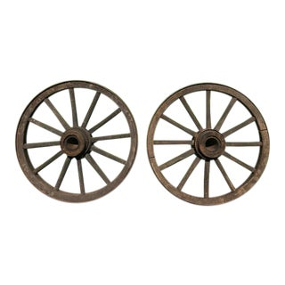 Late 19th Century Antique Forged Steel and Wood Wagon Wheels- a Pair For Sale