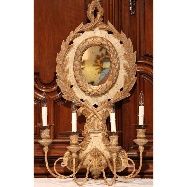 Italian Carved Wood & Iron Painted Sconces - A Pair - Image 10 of 10