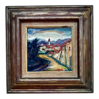 Mid-Century Jewish Artist Maxim Bugzester Village Rainbow Oil on Board Painting, Framed For Sale