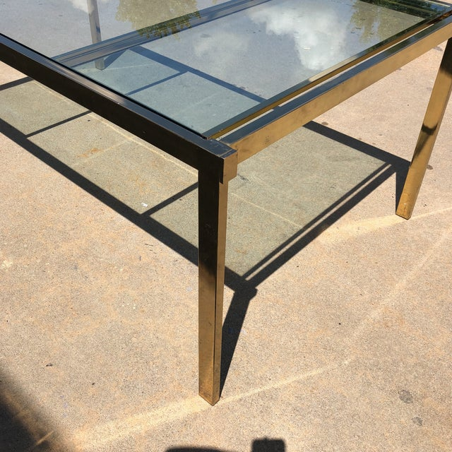 Brutalist Pierre Cardin Style Folding Brass Glass Dining Table For Sale - Image 3 of 13