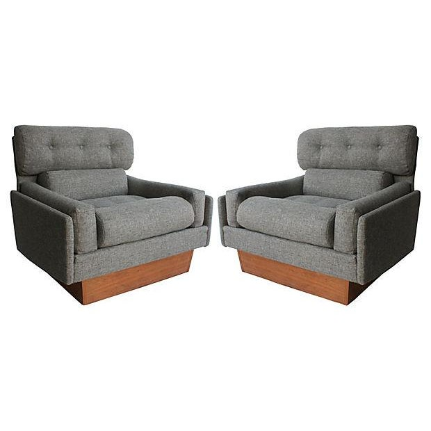 Pearsall-Style Plinth Club Chairs, Pair For Sale
