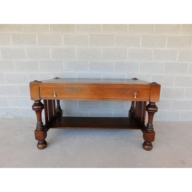 Antique Mission Oak Arts Crafts Tudor Style Library Writing Desk - Antique Mission Style Library Desk - Image Of Lion And Antique