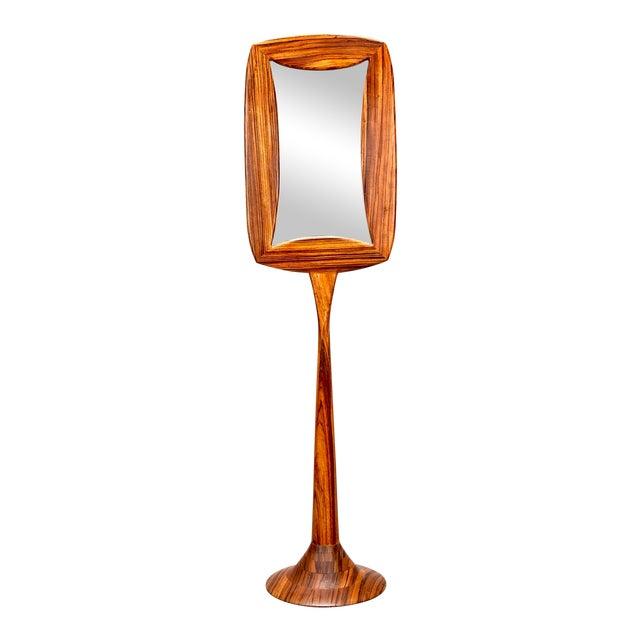 Mid-Century Zebra Wood Double Sided Pedestal Base Floor Mirror ...
