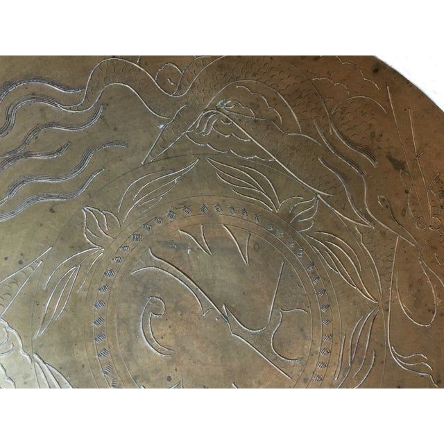 Asian Dragon Etched Brass Tray - Image 7 of 11