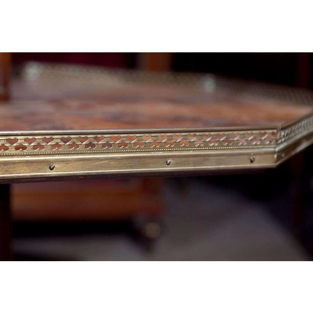 Jansen Mahogany Octagonal Two-Tier Table For Sale In New York - Image 6 of 10