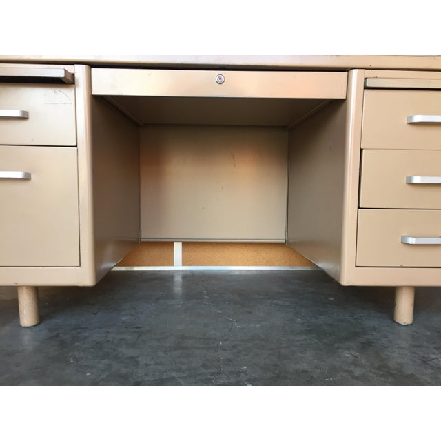 Classic Vintage Tanker Desk with Post Pole Legs For Sale - Image 4 of 8