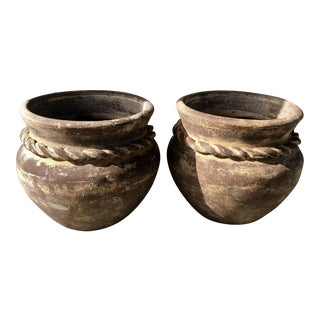 Modern Boho Outdoor Pottery- A Pair For Sale