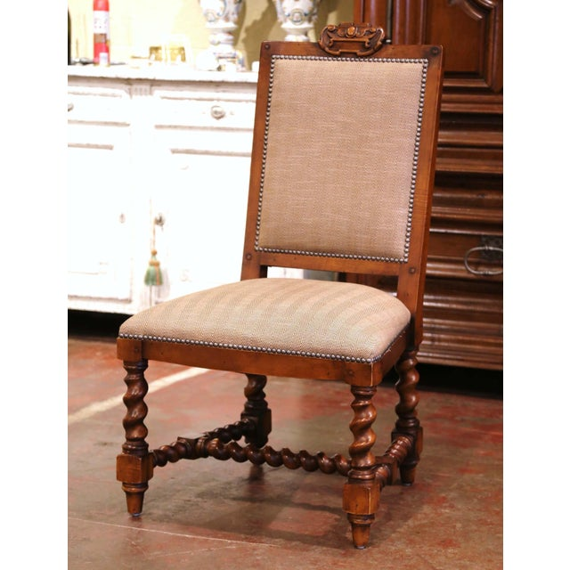 Late 20th Century Suite of Twelve Carved Walnut Chairs From Ralph Lauren With Chenille and Leather For Sale - Image 5 of 13