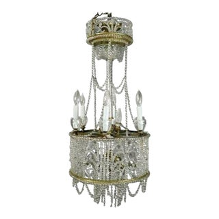 """C.1890 French """"Bagues Style"""" Wedding Cake Beaded Crystal Chandelier"""