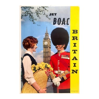"Vintage 1950's Rare Mid Century Modern "" Jet b.o.a.c. Britain "" Lithograph Print Collector's Airline Travel Poster For Sale"