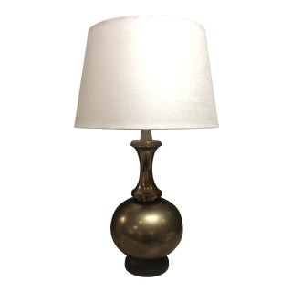 Heavy Brass Table Lamp With Linen Shade For Sale