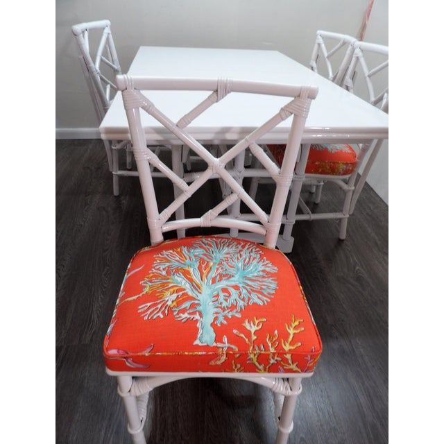 Mid 20th Century Chinoiserie, Wrapped Bamboo Dining Set - 5 Pieces For Sale - Image 5 of 13
