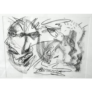 Original Abstract Charcoal Faces Drawing Preview