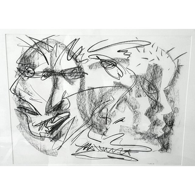 Original Abstract Charcoal Faces Drawing - Image 2 of 6