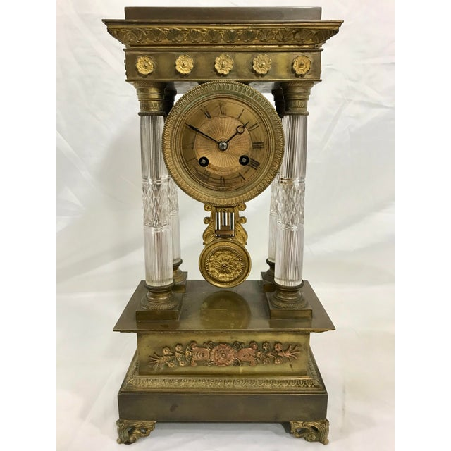 Metal Baccarat and Bronze French Empire Mantle Clock For Sale - Image 7 of 7