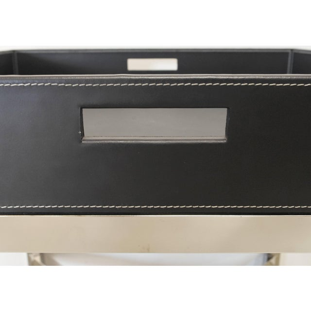 Fabio Ltd Black Leather and Stainless Steel Tray Table by Fabio Ltd For Sale - Image 4 of 7