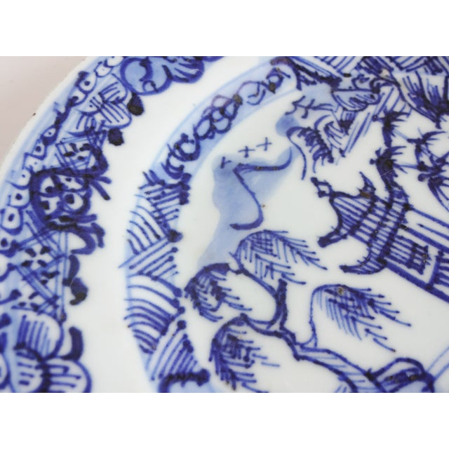 Ceramic Antique 18th-Centry Kangxi Chinese Export Porcelain Blue Underglaze and White Plates - a Pair For Sale - Image 7 of 12