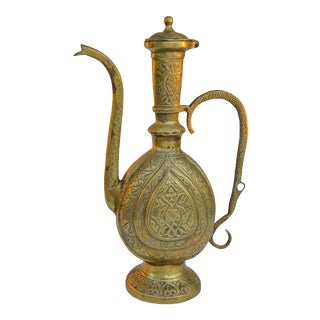 Engraved Brass Teapot For Sale