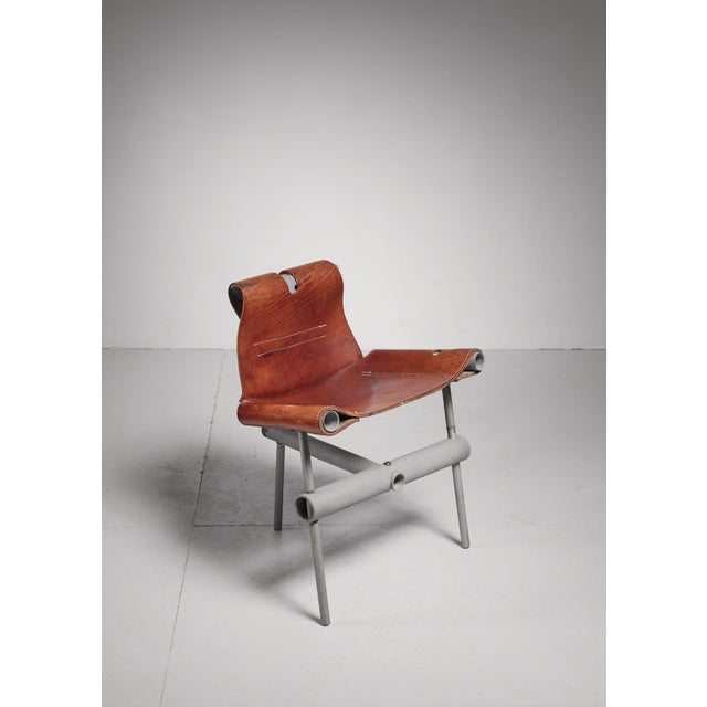 Max Gottschalk prototype leather sling chair, USA, 1960s For Sale - Image 6 of 6