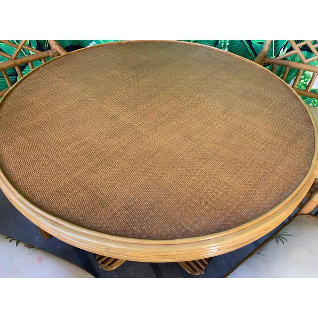 Brown Vintage Rattan Dining Set Table and Four Chairs For Sale - Image 8 of 10