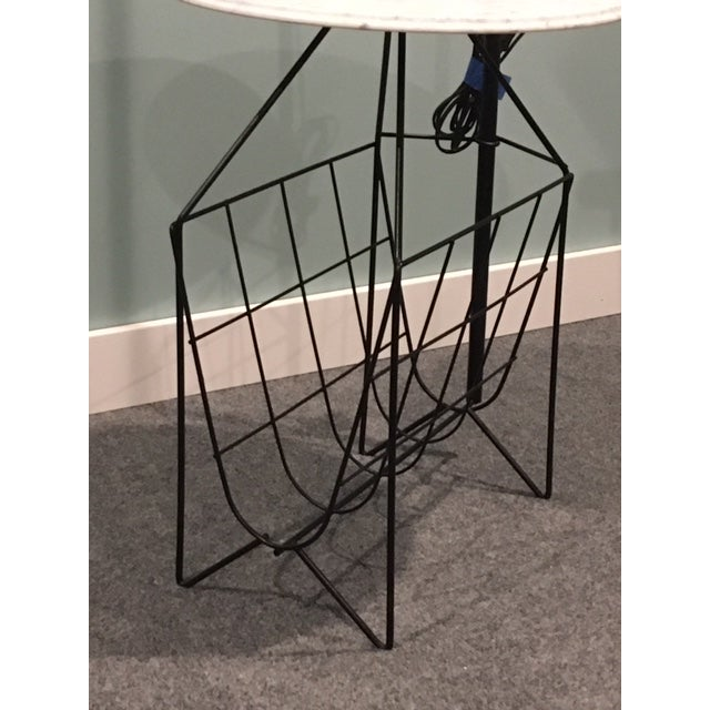 Mid-Century Modern Mid-Century Modern Wire Floor Lamp With Table and Magazine Rack For Sale - Image 3 of 8