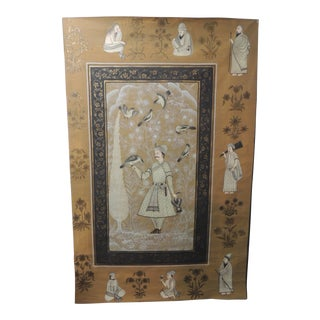 Vintage Hand Painted Indian Portrait of a Noble Man For Sale