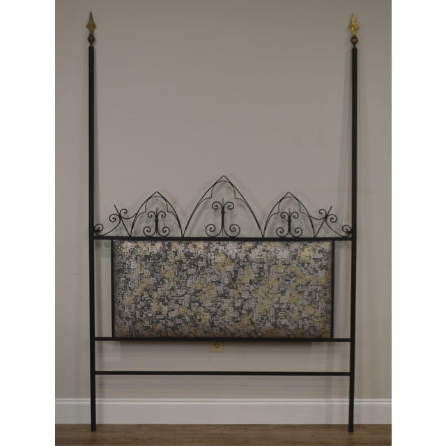 High Quality Custom Wrought Iron Poster Headboard with Brass Finials and Custom Upholstered Back Panel in the Style of...