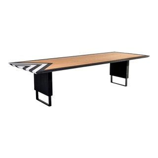 Modern Dining Table in Black, White and Natural Oak For Sale