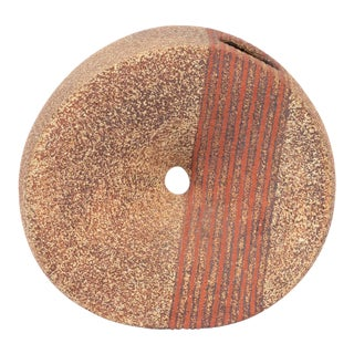 Circular Studio Ceramic Vessel With Line Details For Sale