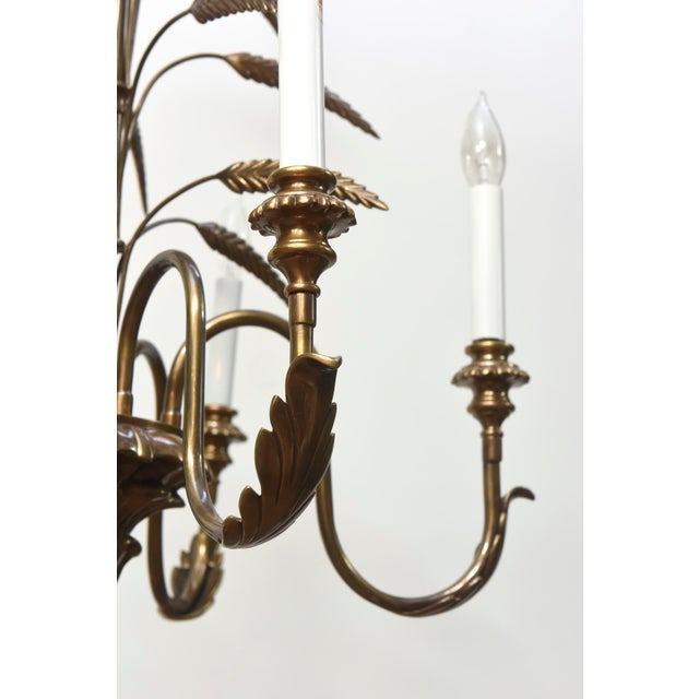Contemporary Five Light Brass Wheat Chandelier For Sale - Image 4 of 5