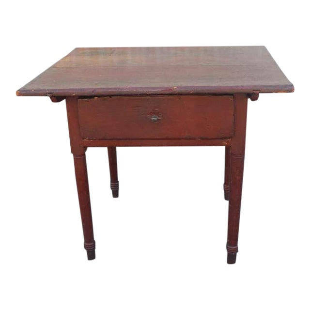 18thc Original Red Lift Top Tavern Table With Original Drawer - Image 1 of 10