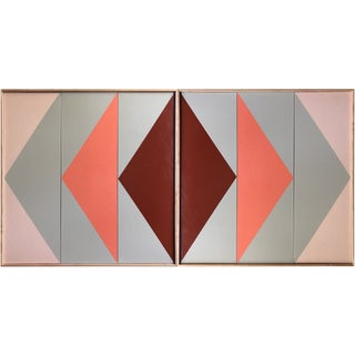 """Original Acrylic Painting """"White Disjointed Triptych Jet0648""""Double Arrow Triptychs Jet0649 For Sale"""