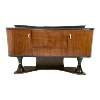 Majestic Turned Ebonized Wood and Wood Cabinet, Italy, 1950s For Sale