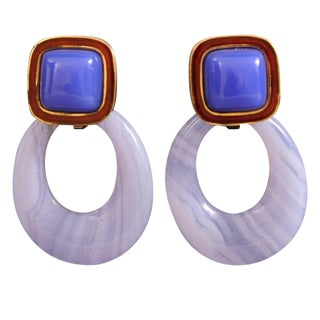 Andrew Clunn Enamel Chalcedony Blue Lace Agate Drop Gold Earrings For Sale