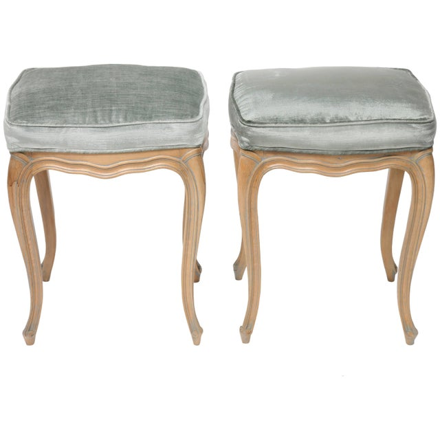 Vintage Louis XV Beechwood Benches / Stools in Blue-Grey Silk Velvet - a Pair For Sale - Image 11 of 11
